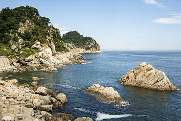Granite coast near Chongjin, Hamgyong Province, North Korea, Asia