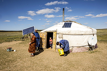 Nomadic herders' ger camp on Steppes grasslands of Mongolia, Asia