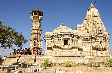 Kirti Stambha (Tower of Fame), 24m high, beside Jain temple, Chittorgarh (Fort), Chittor, Rajasthan, India, Asia