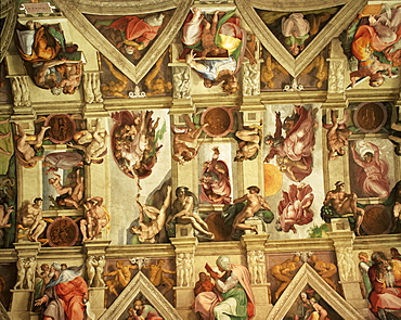 Ceiling of the Sistine Chapel, The Vatican, Rome, Lazio, Italy, Europe