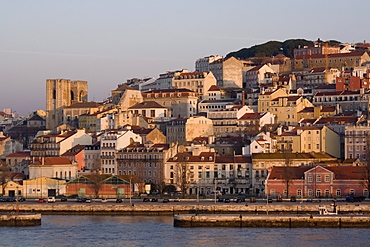 Cathedral and Alfama district at dawn, Lisbon, Portugal, Europe