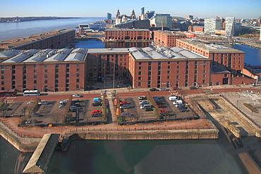 Albert Dock and Mersey skyline from big wheel, Liverpool, Merseyside, England, United Kingdom, Europe