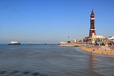 Tower, North Pier and Beach, Blackpool, Lancashire, England, United Kingdom, Europe