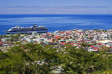View of Roseau from Morne Bruce, Dominica,Windward Islands, West Indies, Caribbean, Central America
