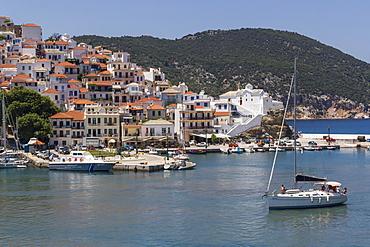 Boat entering harbour, Skopelos, Sporades, Greek Islands, Greece, Europe