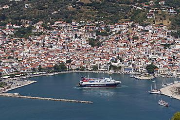 Aerial view of ferry in harbour, Skopelos, Sporades, Greek Islands, Greece, Europe