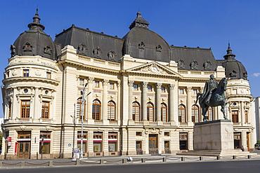 University Library and King Carol I, Calea Victoriei, Bucharest, Romania, Europe