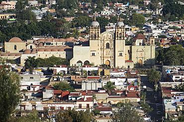 Aerial view of city and Santo Domingo church, Oaxaca, Mexico, North America