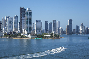 Bocagrande skyline and harbour, Cartagena, Colombia, South America
