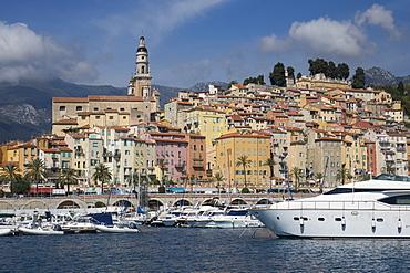 Menton Old Town and Marina, Alpes Maritime, Cote d'Azur, France, Mediterranean, Europe