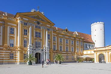 Entrance to Abbey, Melk, UNESCO World Heritage Site, Lower Austria, Austria, Europe