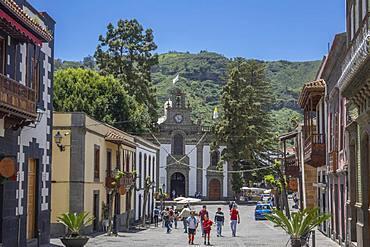 Basilica and main street, Teror, Gran Canaria, Canary Islands, Spain, Atlantic, Europe