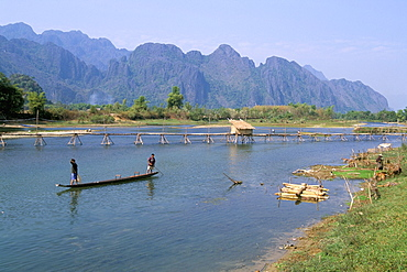 Fishing boat, Vang Vieng, Laos, Indochina, Southeast Asia, Asia
