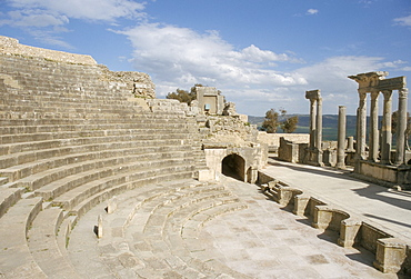The theatre, Dougga (Thugga), UNESCO World Heritage Site, Tunisia, North Africa, Africa