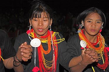 Naga New Year Festival, Naga ladies dancing, Naga New Year Festival, Lahe village, Sagaing Division, Myanmar (Burma), Asia