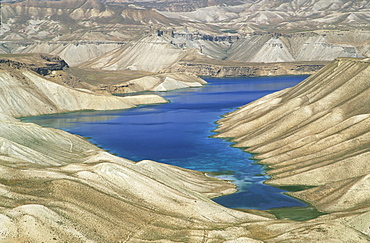 One of the crater lakes at Band-E-Amir (Dam of the King), Afghanistan's first National Park set up in 1973 to protect the five lakes, believed by locals to have been created by the Prophet Mohammed's son-in-law Ali, making them a place of pilgrimage, Afghanistan, Asia
