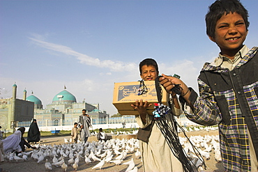 Street boys stand amongst the famous white pigeons with the necklaces they sell to make a living, Shrine of Hazrat Ali, Mazar-I-Sharif, Balkh province, Afghanistan, Asia
