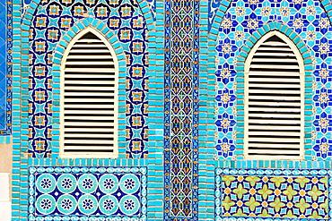 Tiling round shuttered windows, Shrine of Hazrat Ali, who was assissinated in 661, Mazar-I-Sharif, Balkh province, Afghanistan, Asia