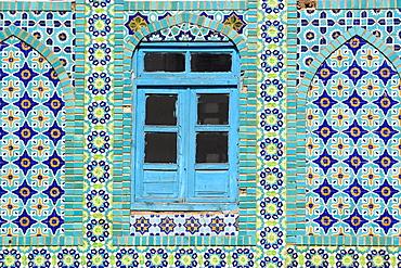 Tiling round blue window, Shrine of Hazrat Ali, who was assissinated in 661, Mazar-I-Sharif, Balkh province, Afghanistan, Asia