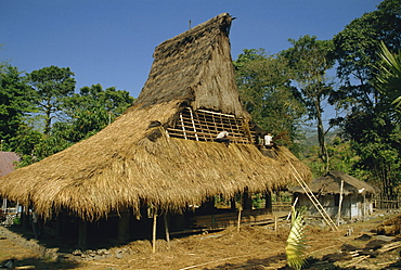 Men thatching the roof of a house near Moni, Flores, Indonesia, Southeast Asia, Asia