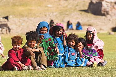 Aimaq children, Aimaq nomad camp, Pal-Kotal-i-Guk, between Chakhcharan and Jam, Afghanistan, Asia