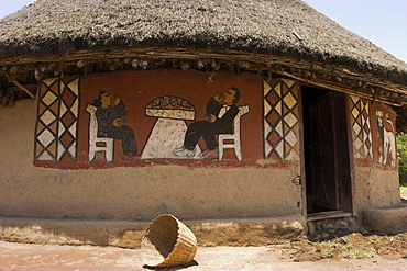 Painted houses of the Alaba peoples near Kulito, Ethiopia, Africa