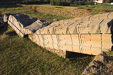 The Great Stelae, 22m, believed to be the largest single stone block humans have tried to erect, Northern Stelae Park, Aksum, UNESCO World Heritage Site, Ethiopia, Africa