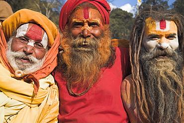 Sadhus (holy men), Shivaratri festival, Pashupatinath Temple, Kathmandu, Nepal, Asia