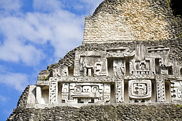 Frieze on the 130ft high El Castillo, Xunantunich Ruins, San Ignacio, Belize, Central America