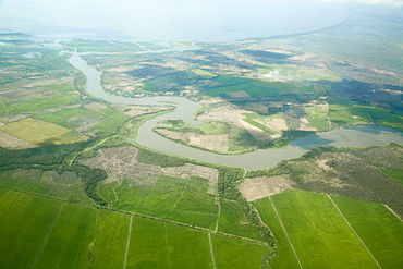 Arial view of countryside near Managua, Nicaragua, Central America