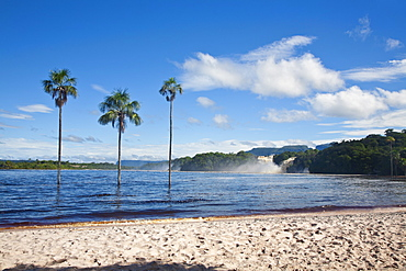 View to Hacha falls, Canaima Lagoon, Canaima National Park, UNESCO World Heritage Site, Guayana Highlands, Venezuela, South America