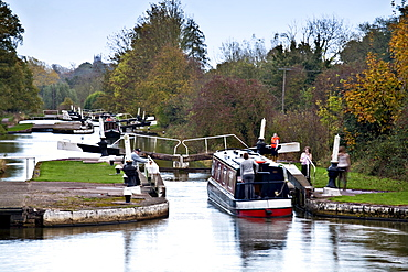 Hatton Locks on the Grand Union Canal, known as the Boaters stairway to heaven, Hatton, Warwickshire, England, United Kingdom, Europe