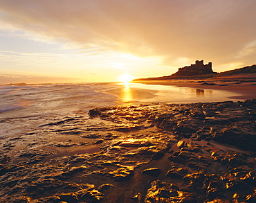 Bamburgh Castle at sunrise, Northumberland, England