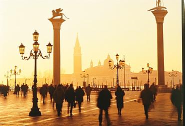 Sunrise in St. Mark's Square, San Giorgio Maggiore in background, Venice, Veneto, Italy