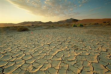 Sunbaked mud pan, cracked earth, near Sossusvlei, Namib Naukluft Park, Namibia, Africa
