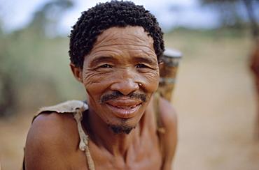 Portrait of a Bushman, Intu Afrika game reserve, Namibia, Africa