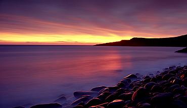 Sunrise over Embleton Bay, near Alnwick, Northumberland, England, United Kingdom, Europe