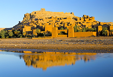 Kasbah Ait Benhaddou (Ait-Ben-Haddou) reflected in river in early morning, UNESCO World Heritage Site, near Ouarzazate, Morocco, North Africa, Africa