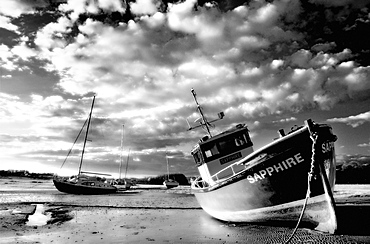 Infrared image of boats on Aln Estuary at low tide, Alnmouth, near Alnwick, Northumberland, England, United Kingdom, Europe