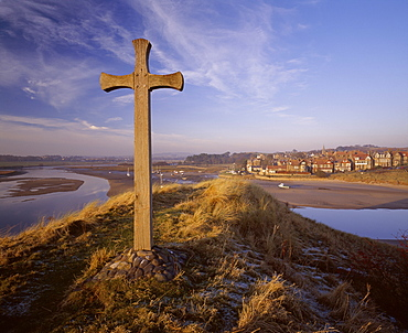 View from Church Hill across the Aln Estuary towards Alnmouth bathed in the warm light of a winter's afternoon, Alnmouth, Alnwick, Northumberland, England, United Kingdom, Europe