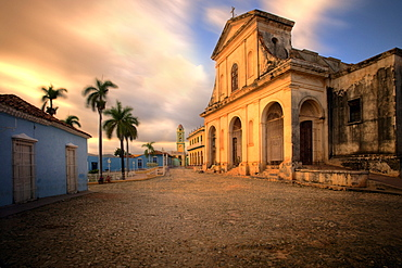 The church of the Holy Trinity bathed in evening light, Plaza Mayor, Trinidad, UNESCO World Heritage Site, Cuba, West Indies, Central America