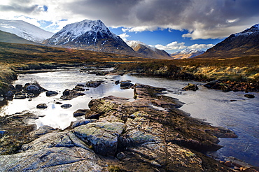 Winter view over River Etive towards snow-capped mountains, Rannoch Moor, near Fort William, Highland, Scotland, United Kingdom, Europe