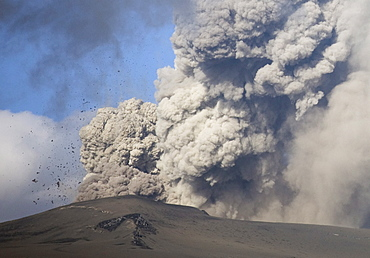 Eyjafjallajokull eruption showing billowing ash plume and rocks exploding into the sky of southern Iceland, Iceland, Polar Regions