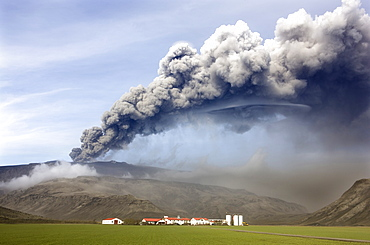 Farm buildings and green fields with the ash plume of the Eyjafjallajokull eruption in the distance, near Hella, southern area, Iceland, Polar Regions