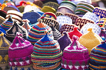 Display of handmade hats for sale in market in Rahba Kedima Square in the souks of Marrakech, Morocco, North Africa, Africa