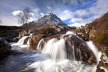 Winter view of Buachaile Etive More from the Coupall Falls on the River Coupall, Glen Etive, Highlands, Scotland, United Kingdom, Europe