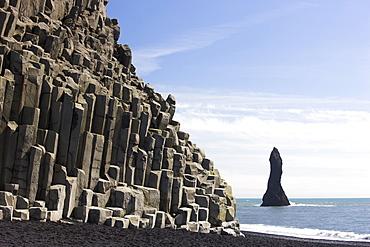 Basalt cliffs and rock stack, Halsenifs Hellir Beach, near Vik i Myrdal, South Iceland, Iceland, Polar Regions
