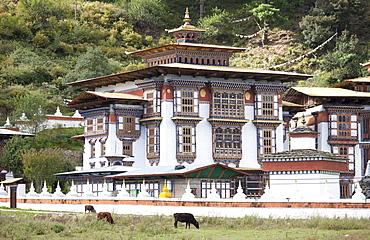 Temple of Kurjey Lhakhang near Jakar, Bumthang, Bhutan, Asia
