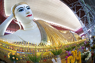 The 70m long Chaukhtatgyi Reclining Buddha at Chaukhtatgyi Paya, Yangon (Rangoon), Myanmar (Burma), Asia