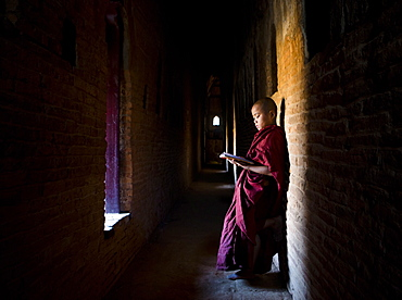 Novice Buddhist monk reading Buddhist scriptures in the light of a window in one of the many temples of Bagan, Myanmar (Burma), Asia